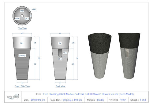 Free Standing Black Marble Pedestal Sink Bathroom 90 Cm X 40 Cm ( Cono  Model ) ...